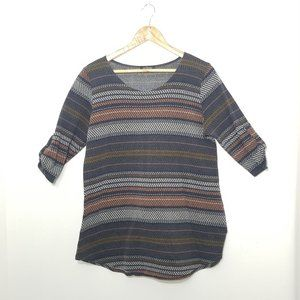 eclipse | Boho Stripe Scoop Neck Knit Blouse XL